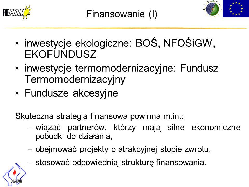 Finansowanie (I) inwestycje ekologiczne: BOŚ, NFOŚiGW, EKOFUNDUSZ inwestycje termomodernizacyjne: Fundusz Termomodernizacyjny Fundusze akcesyjne Skute