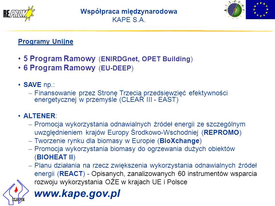 Współpraca międzynarodowa KAPE S.A. Programy Unijne 5 Program Ramowy (ENIRDGnet, OPET Building) 6 Program Ramowy (EU-DEEP) SAVE np.: – Finansowanie pr