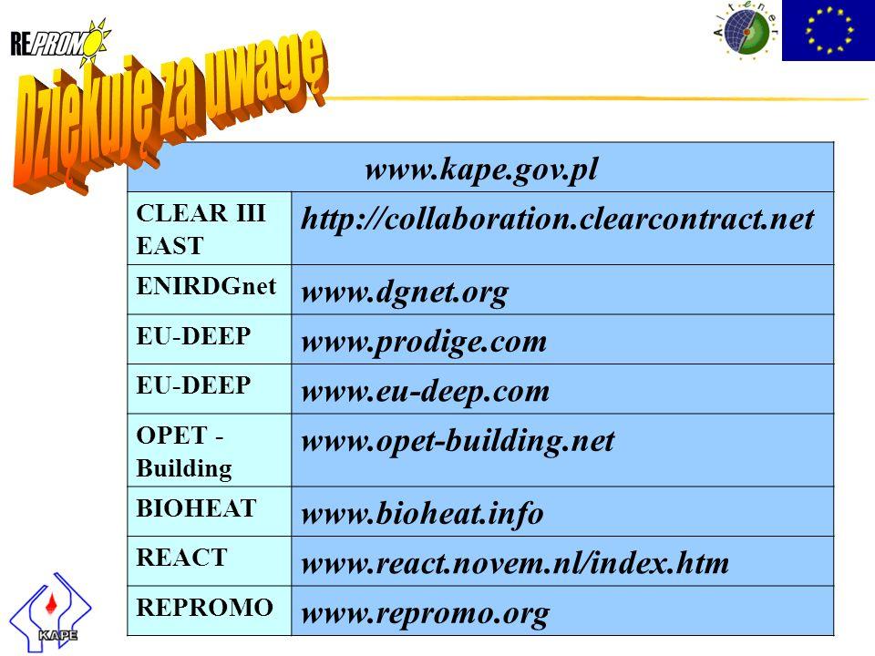 www.kape.gov.pl CLEAR III EAST http://collaboration.clearcontract.net ENIRDGnet www.dgnet.org EU-DEEP www.prodige.com EU-DEEP www.eu-deep.com OPET - B