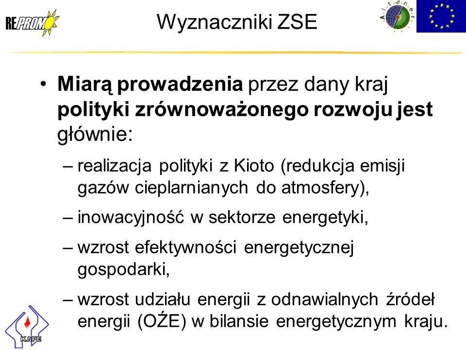 Wyznaczniki ZSE Miarą prowadzenia przez dany kraj polityki zrównoważonego rozwoju jest głównie: –realizacja polityki z Kioto (redukcja emisji gazów ci