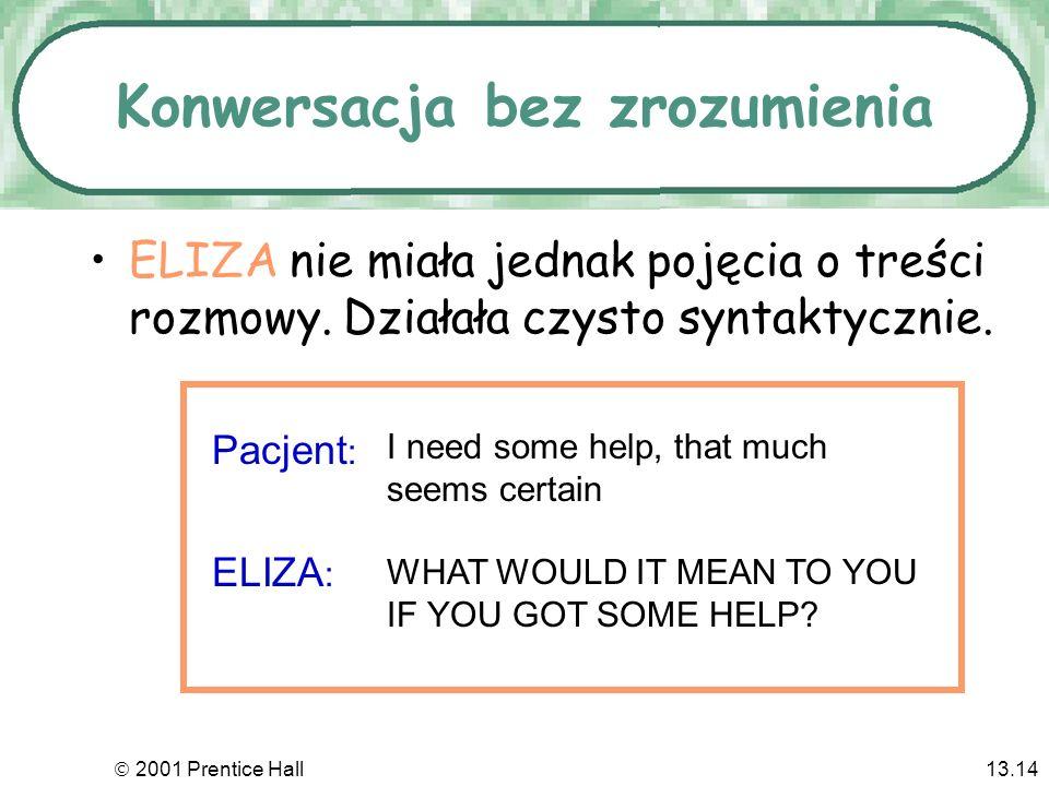 2001 Prentice Hall13.14 Konwersacja bez zrozumienia ELIZA nie miała jednak pojęcia o treści rozmowy.