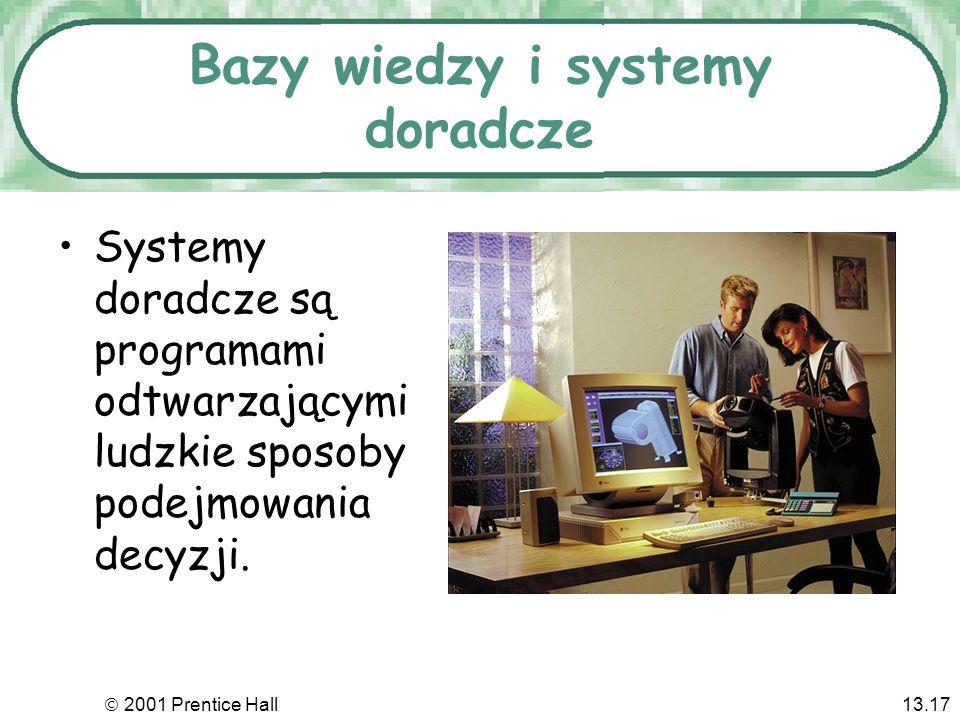 2001 Prentice Hall13.17 Bazy wiedzy i systemy doradcze Systemy doradcze są programami odtwarzającymi ludzkie sposoby podejmowania decyzji.