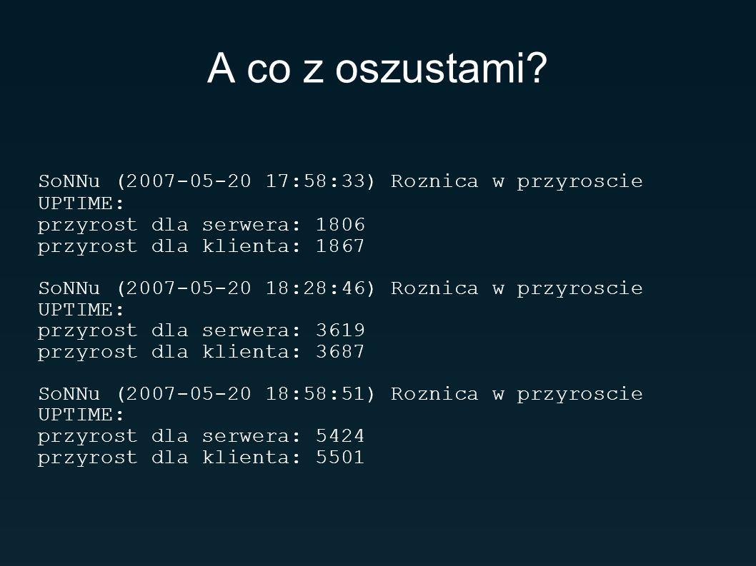A co z oszustami? SoNNu (2007-05-20 17:58:33) Roznica w przyroscie UPTIME: przyrost dla serwera: 1806 przyrost dla klienta: 1867 SoNNu (2007-05-20 18: