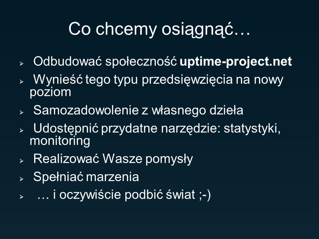 Co chcemy osiągnąć… Odbudować społeczność uptime-project.net Wynieść tego typu przedsięwzięcia na nowy poziom Samozadowolenie z własnego dzieła Udostę