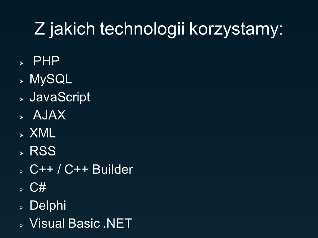 Z jakich technologii korzystamy: PHP MySQL JavaScript AJAX XML RSS C++ / C++ Builder C# Delphi Visual Basic.NET