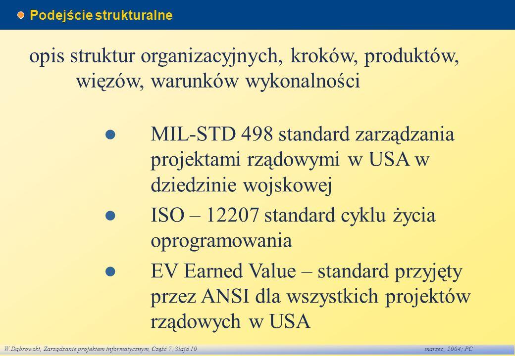 W.Dąbrowski, Zarządzanie projektem informatycznym, Część 7, Slajd 10marzec, 2004; PC Podejście strukturalne opis struktur organizacyjnych, kroków, pro