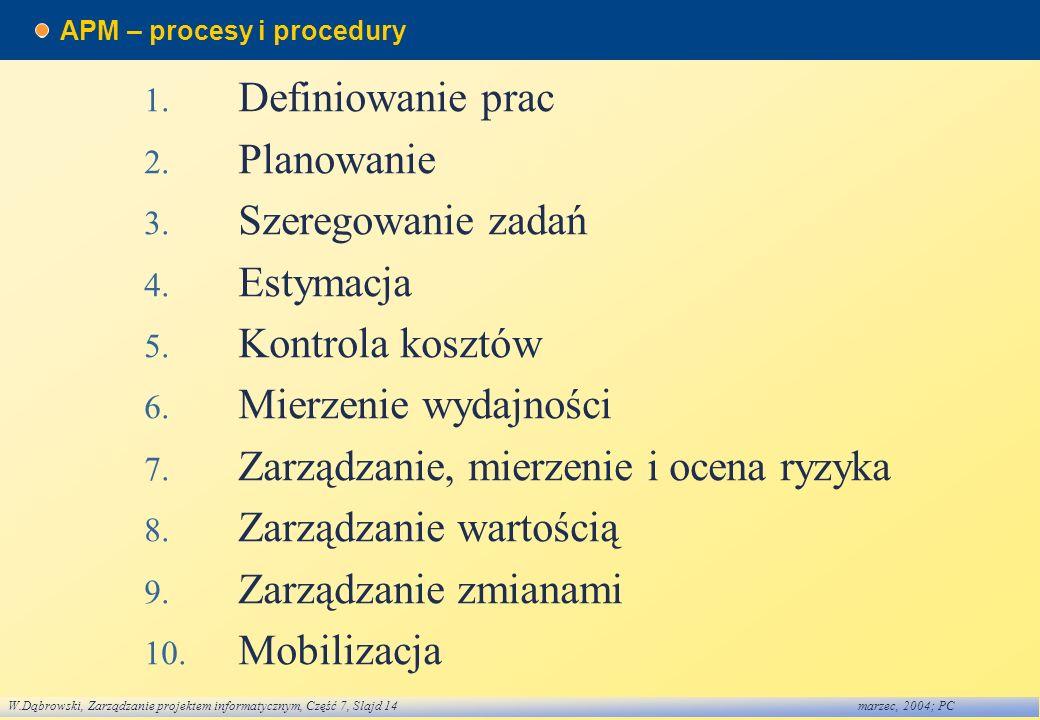 W.Dąbrowski, Zarządzanie projektem informatycznym, Część 7, Slajd 14marzec, 2004; PC APM – procesy i procedury 1. Definiowanie prac 2. Planowanie 3. S