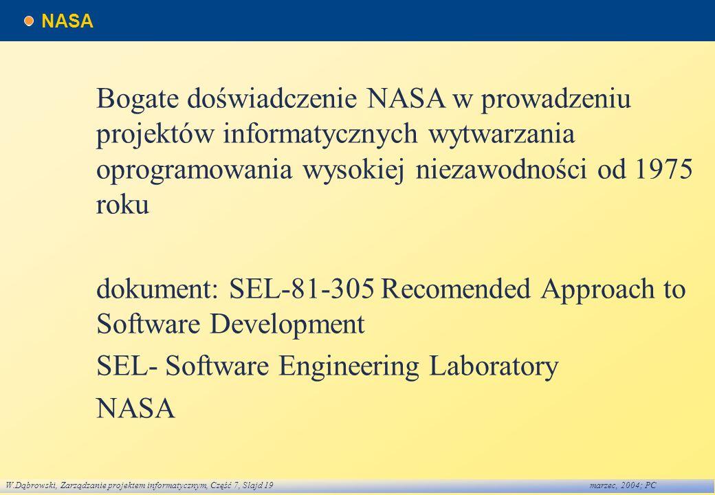 W.Dąbrowski, Zarządzanie projektem informatycznym, Część 7, Slajd 19marzec, 2004; PC NASA Bogate doświadczenie NASA w prowadzeniu projektów informatyc