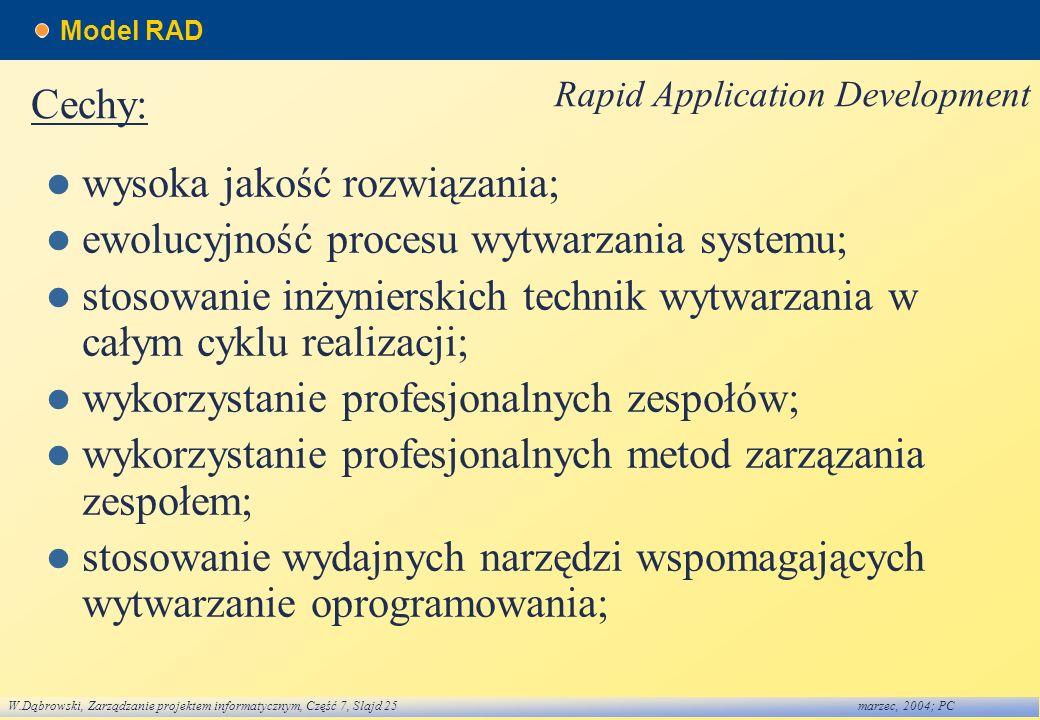 W.Dąbrowski, Zarządzanie projektem informatycznym, Część 7, Slajd 25marzec, 2004; PC Model RAD wysoka jakość rozwiązania; ewolucyjność procesu wytwarz