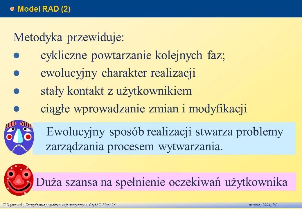 W.Dąbrowski, Zarządzanie projektem informatycznym, Część 7, Slajd 26marzec, 2004; PC Model RAD (2) Metodyka przewiduje: cykliczne powtarzanie kolejnyc