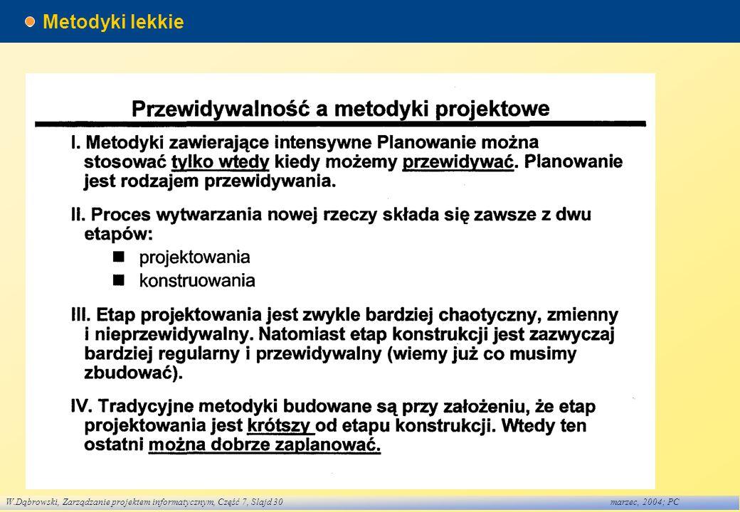 W.Dąbrowski, Zarządzanie projektem informatycznym, Część 7, Slajd 30marzec, 2004; PC Metodyki lekkie