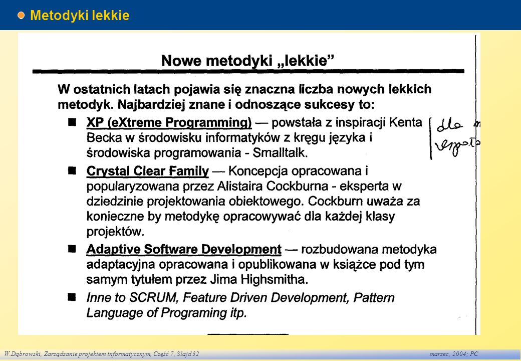 W.Dąbrowski, Zarządzanie projektem informatycznym, Część 7, Slajd 32marzec, 2004; PC Metodyki lekkie