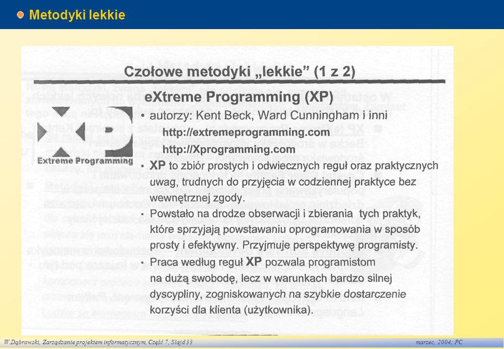 W.Dąbrowski, Zarządzanie projektem informatycznym, Część 7, Slajd 33marzec, 2004; PC Metodyki lekkie