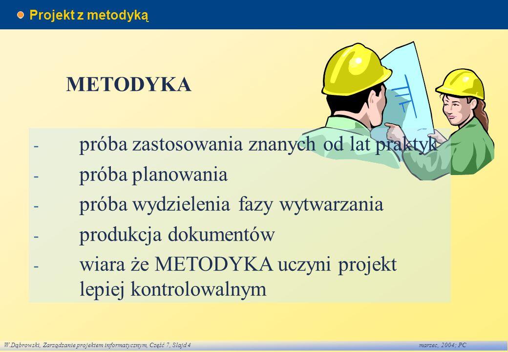 W.Dąbrowski, Zarządzanie projektem informatycznym, Część 7, Slajd 4marzec, 2004; PC Projekt z metodyką METODYKA - próba zastosowania znanych od lat pr