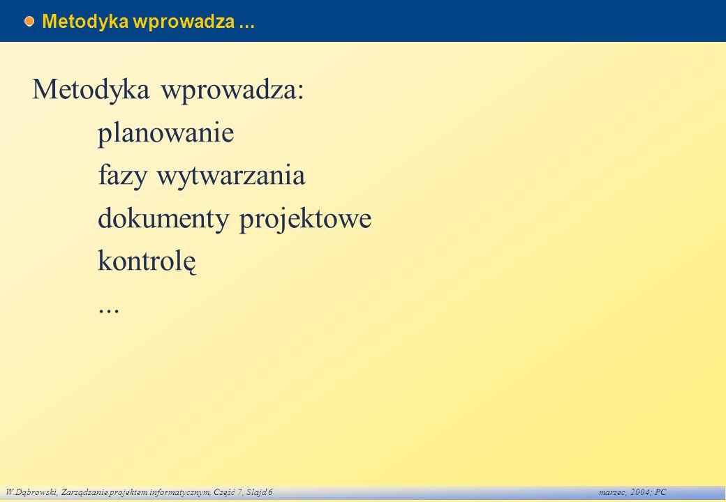 W.Dąbrowski, Zarządzanie projektem informatycznym, Część 7, Slajd 6marzec, 2004; PC Metodyka wprowadza... Metodyka wprowadza: planowanie fazy wytwarza