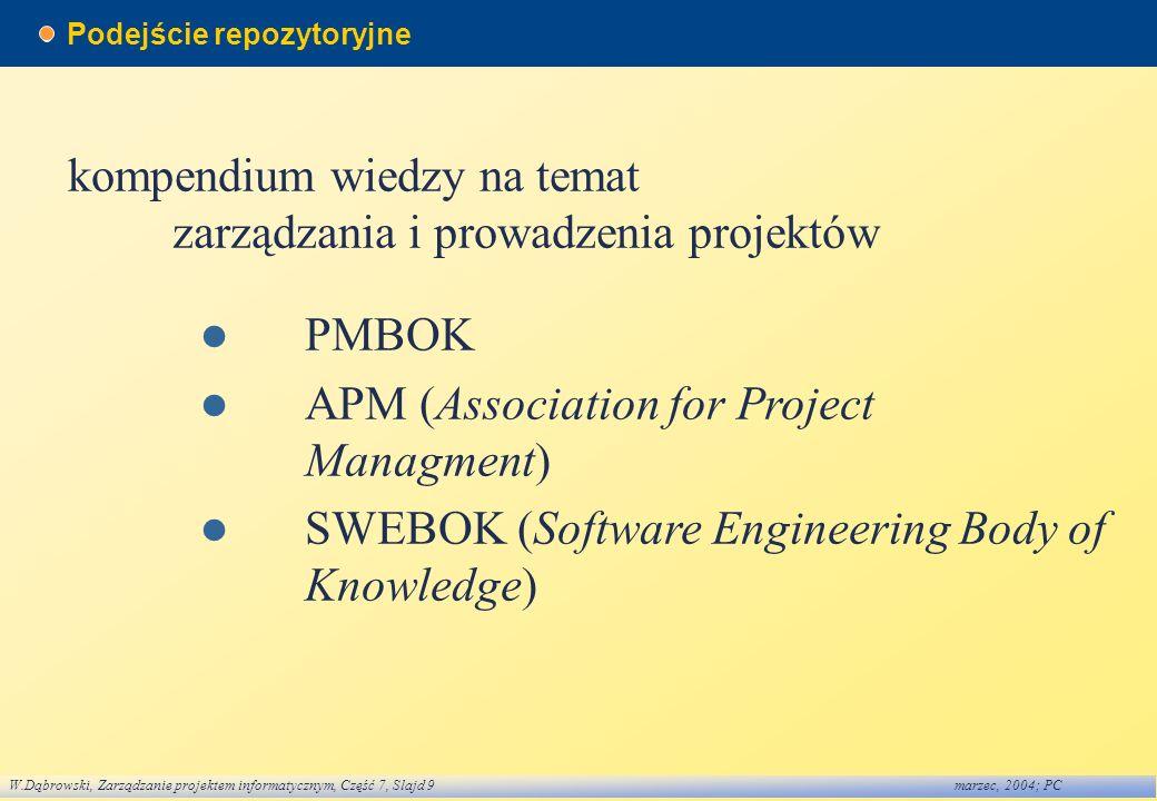 W.Dąbrowski, Zarządzanie projektem informatycznym, Część 7, Slajd 9marzec, 2004; PC Podejście repozytoryjne kompendium wiedzy na temat zarządzania i p