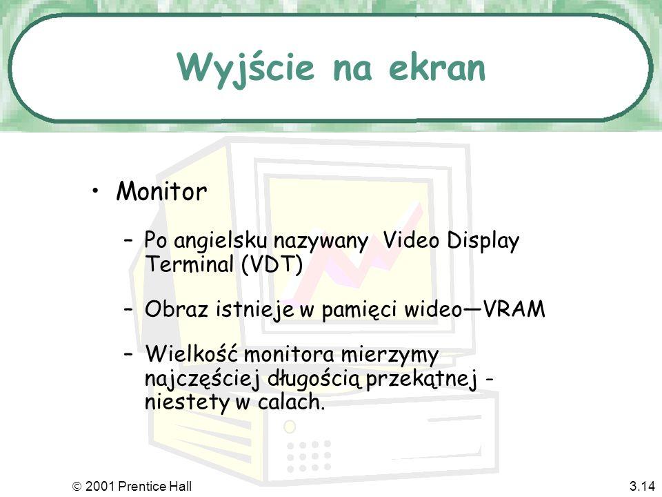 2001 Prentice Hall3.13 Dźwięk Monitor Sensory Wyjście: od sygnału do ludzi Papier