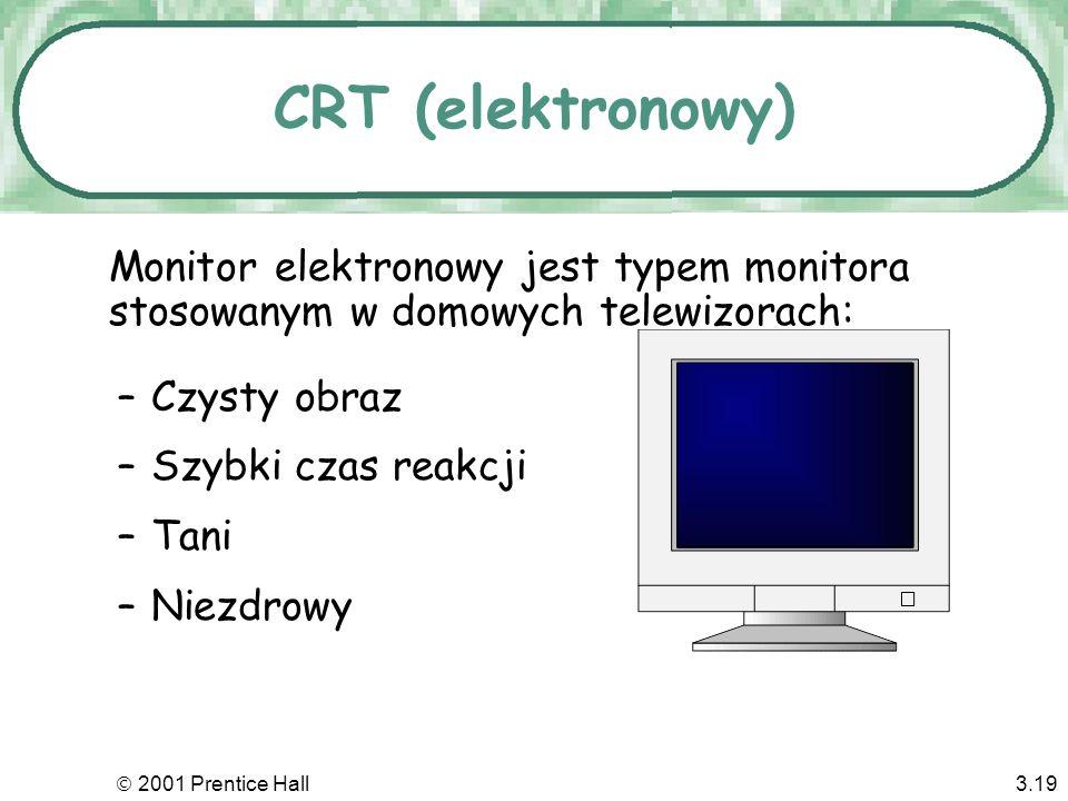 2001 Prentice Hall3.18 CRT (cathode ray tube) elektronowy LCD (liquid crystal display) ciekłokrystaliczny Typy monitorów