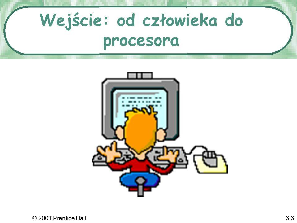 2001 Prentice Hall3.2 O czym będzie? Wejście: człowiek nadaje do komputera Wyjście: komputer nadaje do użytkownika Pamięci: wejście spotyka wyjście Sy