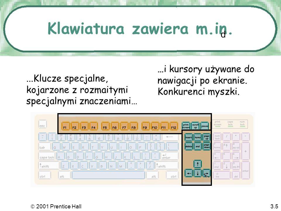 2001 Prentice Hall3.5 Klawiatura zawiera m.in.…i kursory używane do nawigacji po ekranie.