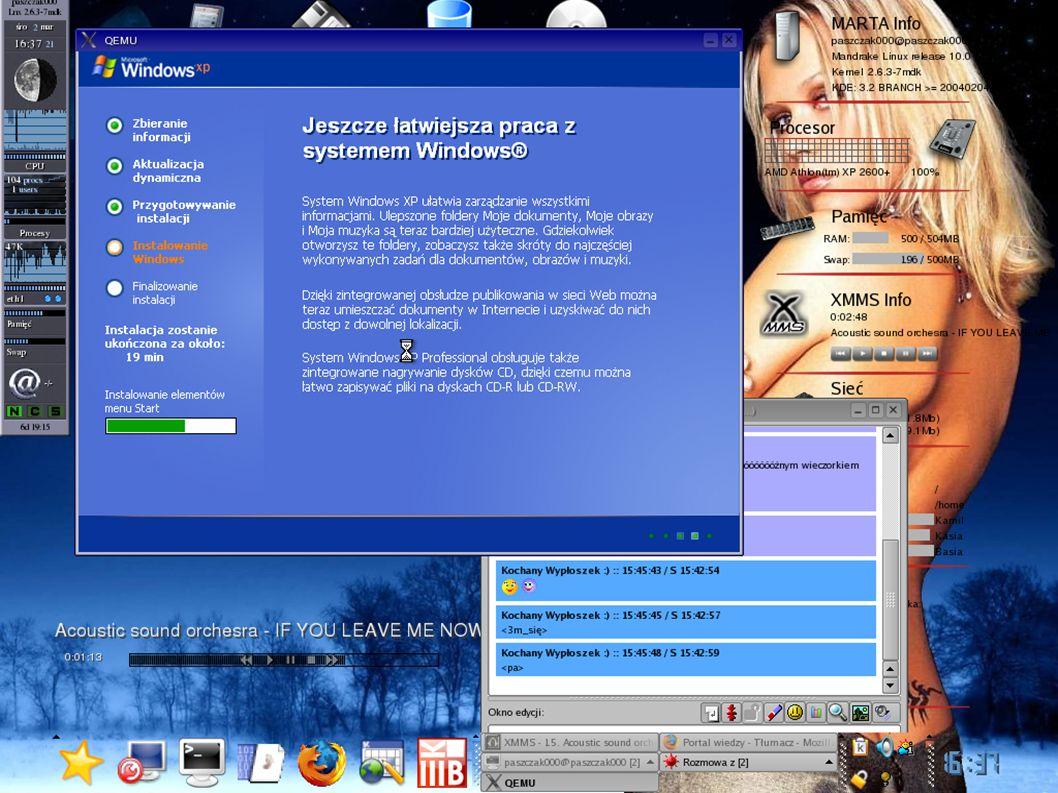 PRZYDATNE LINKI http://www.winehq.org – strona domowa Wine http://www.transgaming.com - strona domowa Cedega http://cedegawiki.sweetleafstudios.com/wiki/Category: Games http://www.codeweavers.com - strona domowa CrossOver