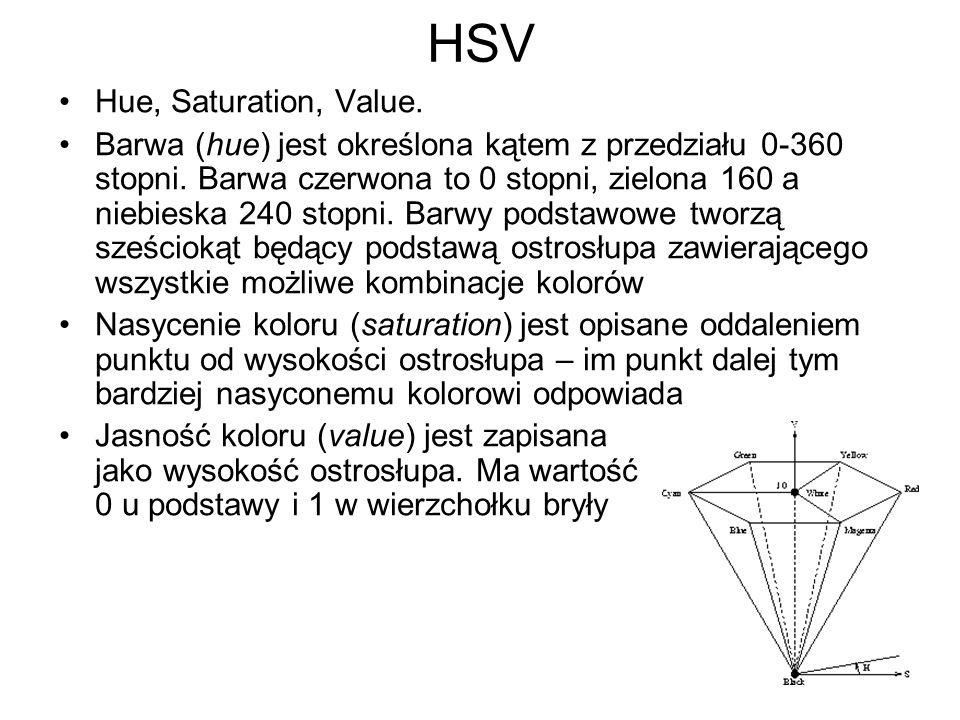 HSV Hue, Saturation, Value. Barwa (hue) jest określona kątem z przedziału 0-360 stopni. Barwa czerwona to 0 stopni, zielona 160 a niebieska 240 stopni