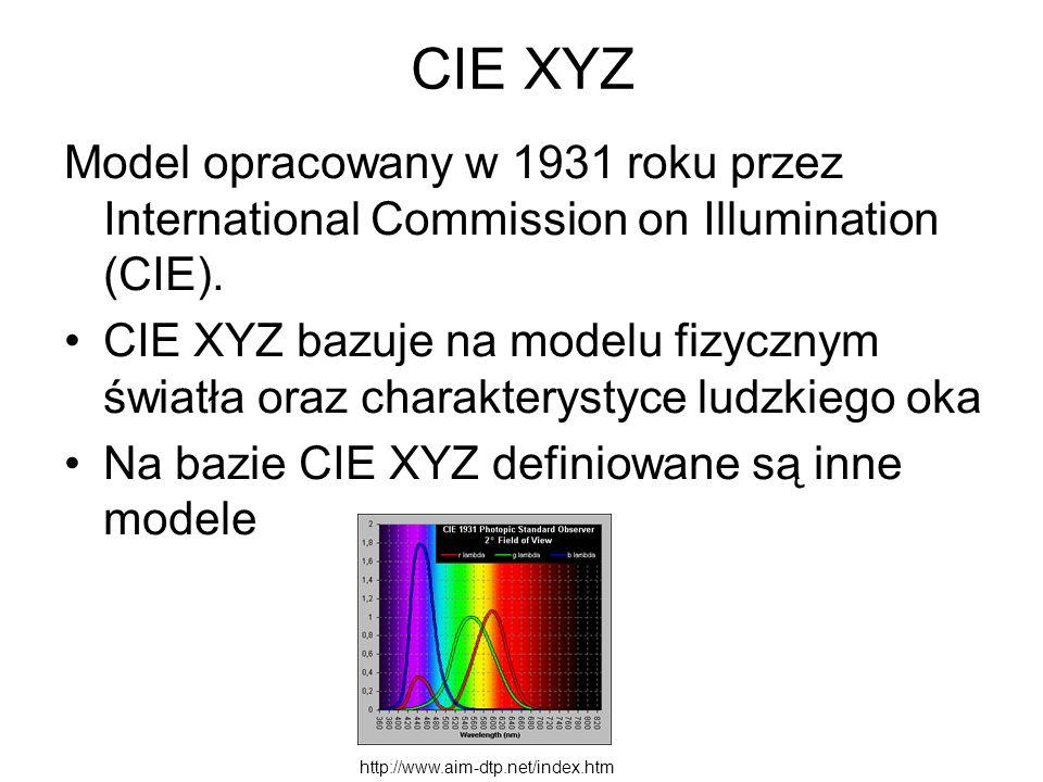CIE XYZ Model opracowany w 1931 roku przez International Commission on Illumination (CIE). CIE XYZ bazuje na modelu fizycznym światła oraz charakterys