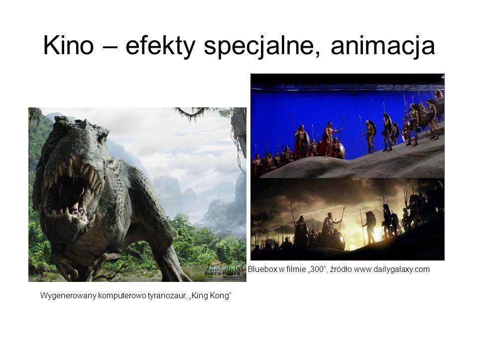 Kino – efekty specjalne, animacja Bluebox w filmie 300, źródło www.dailygalaxy.com Wygenerowany komputerowo tyranozaur, King Kong