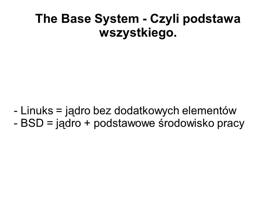 The Base System - Czyli podstawa wszystkiego. - Linuks = jądro bez dodatkowych elementów - BSD = jądro + podstawowe środowisko pracy