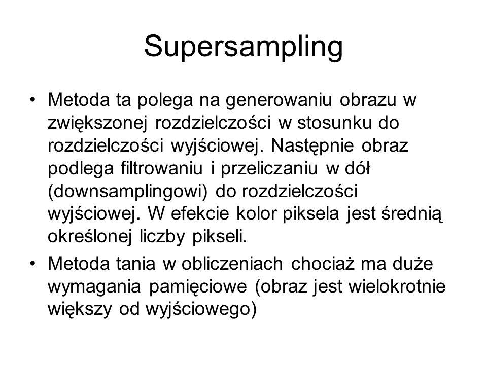 Supersampling Metoda ta polega na generowaniu obrazu w zwiększonej rozdzielczości w stosunku do rozdzielczości wyjściowej. Następnie obraz podlega fil