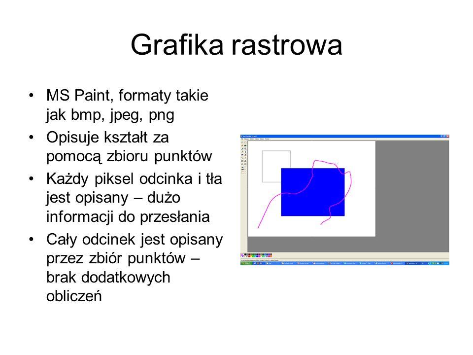 Grafika rastrowa MS Paint, formaty takie jak bmp, jpeg, png Opisuje kształt za pomocą zbioru punktów Każdy piksel odcinka i tła jest opisany – dużo in