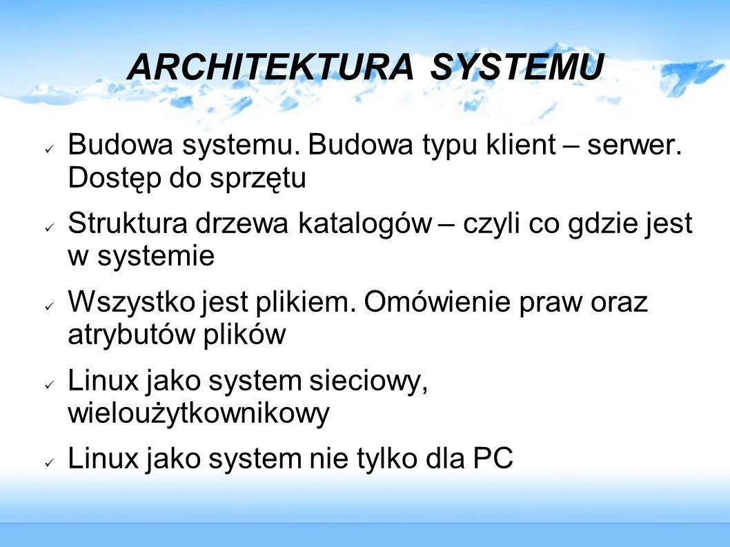 ARCHITEKTURA SYSTEMU Budowa systemu. Budowa typu klient – serwer. Dostęp do sprzętu Struktura drzewa katalogów – czyli co gdzie jest w systemie Wszyst