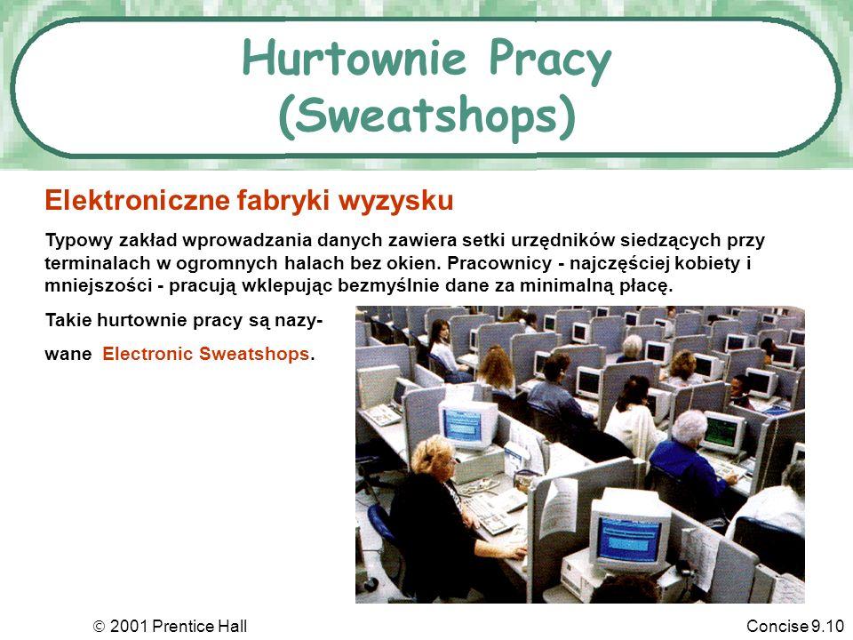 2001 Prentice HallConcise 9.10 Hurtownie Pracy (Sweatshops) Elektroniczne fabryki wyzysku Typowy zakład wprowadzania danych zawiera setki urzędników siedzących przy terminalach w ogromnych halach bez okien.