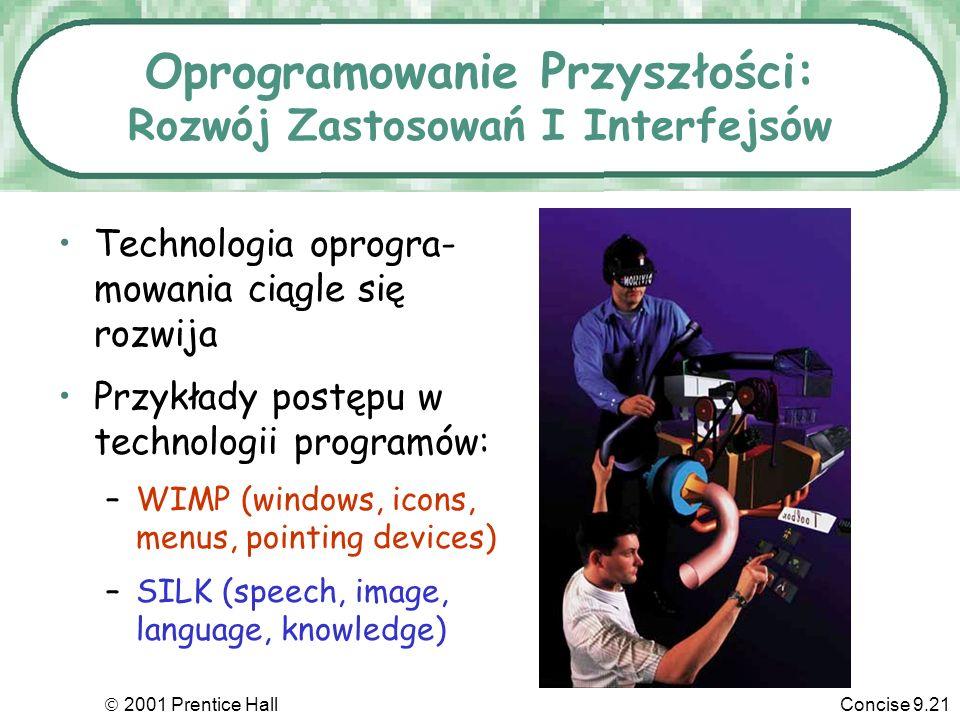 2001 Prentice HallConcise 9.21 Oprogramowanie Przyszłości: Rozwój Zastosowań I Interfejsów Technologia oprogra- mowania ciągle się rozwija Przykłady p
