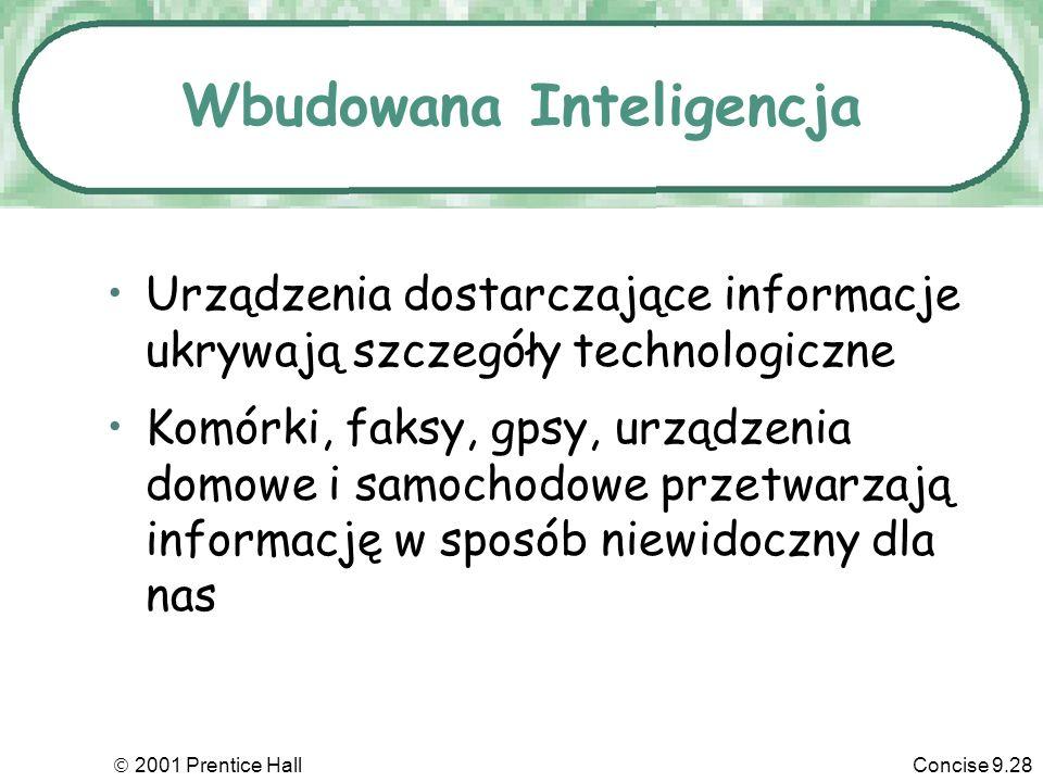 2001 Prentice HallConcise 9.28 Wbudowana Inteligencja Urządzenia dostarczające informacje ukrywają szczegóły technologiczne Komórki, faksy, gpsy, urządzenia domowe i samochodowe przetwarzają informację w sposób niewidoczny dla nas