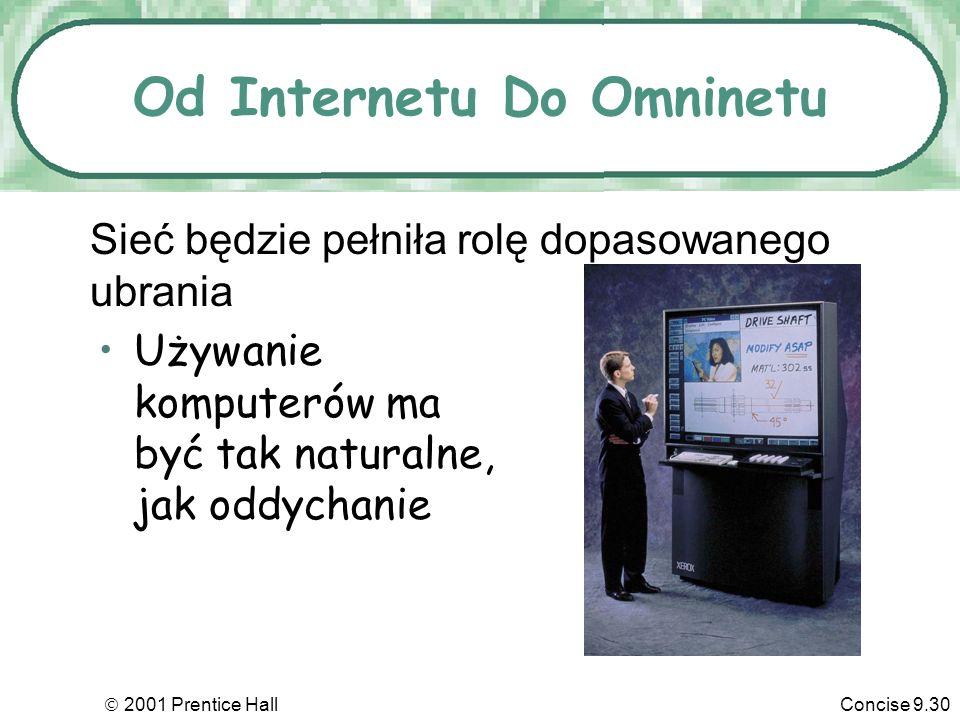 2001 Prentice HallConcise 9.30 Od Internetu Do Omninetu Używanie komputerów ma być tak naturalne, jak oddychanie Sieć będzie pełniła rolę dopasowanego