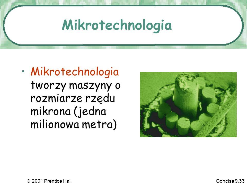 2001 Prentice HallConcise 9.33 Mikrotechnologia Mikrotechnologia tworzy maszyny o rozmiarze rzędu mikrona (jedna milionowa metra)