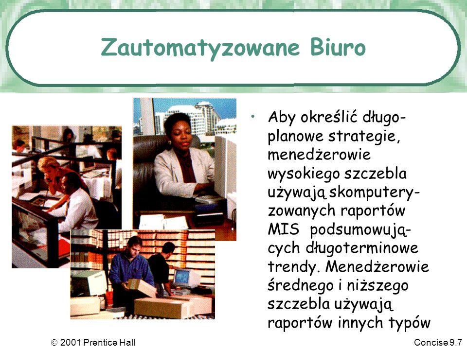 2001 Prentice HallConcise 9.7 Zautomatyzowane Biuro Aby określić długo- planowe strategie, menedżerowie wysokiego szczebla używają skomputery- zowanych raportów MIS podsumowują- cych długoterminowe trendy.