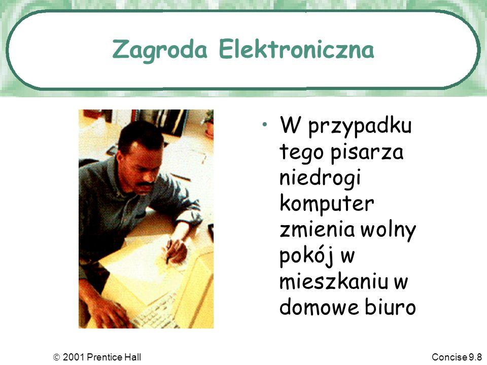 2001 Prentice HallConcise 9.9 Komputery I Jakość Pracy Monitorowanie komputerowe Używanie komputerów do śledzenia, zapamiętywania i oceny jakości pracy pracowników, często bez ich wiedzy.
