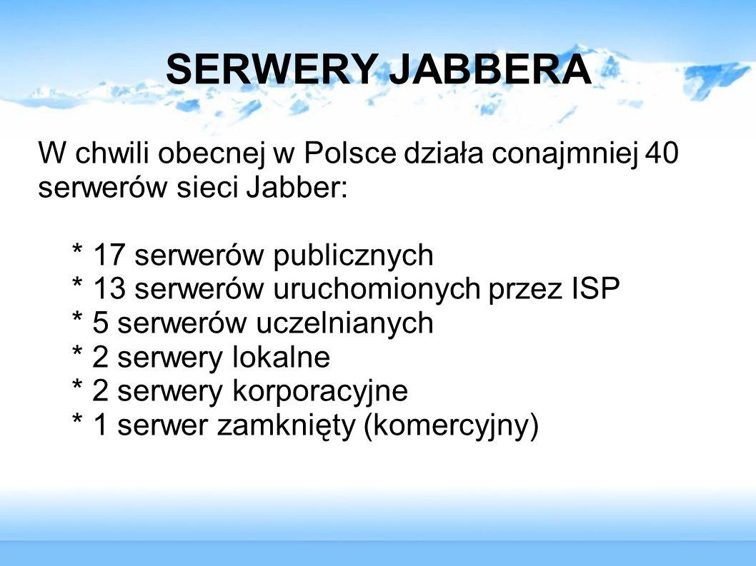 SERWERY JABBERA W chwili obecnej w Polsce działa conajmniej 40 serwerów sieci Jabber: * 17 serwerów publicznych * 13 serwerów uruchomionych przez ISP
