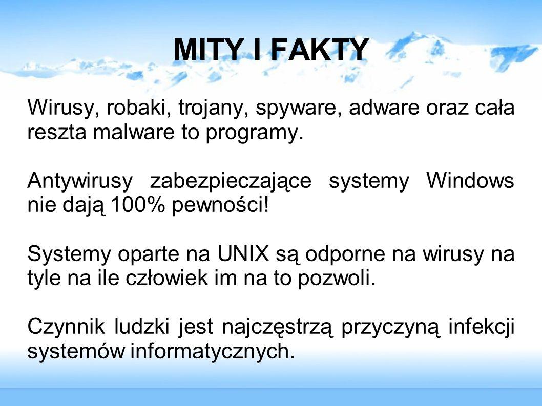 MITY I FAKTY Wirusy, robaki, trojany, spyware, adware oraz cała reszta malware to programy. Antywirusy zabezpieczające systemy Windows nie dają 100% p