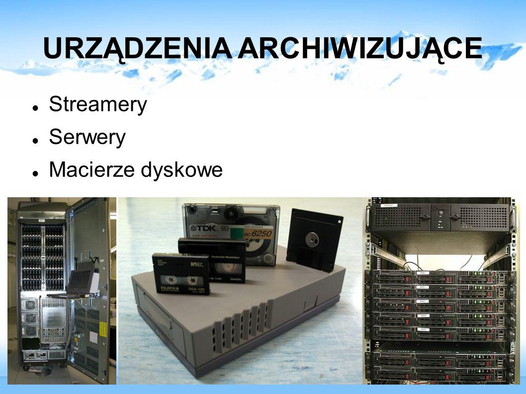 URZĄDZENIA ARCHIWIZUJĄCE Streamery Serwery Macierze dyskowe