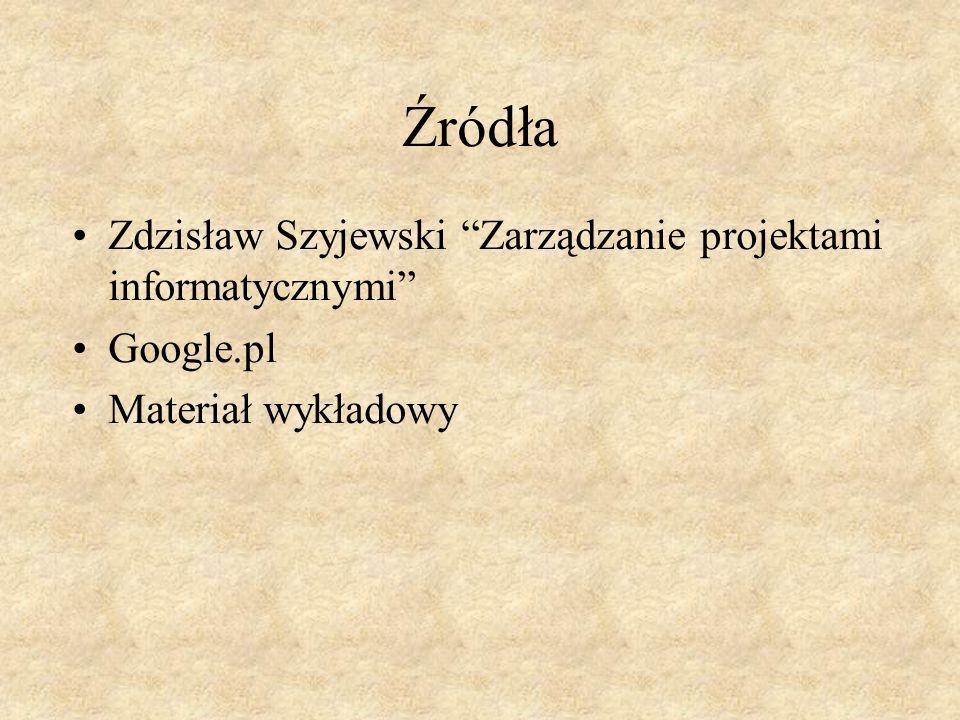 Źródła Zdzisław Szyjewski Zarządzanie projektami informatycznymi Google.pl Materiał wykładowy