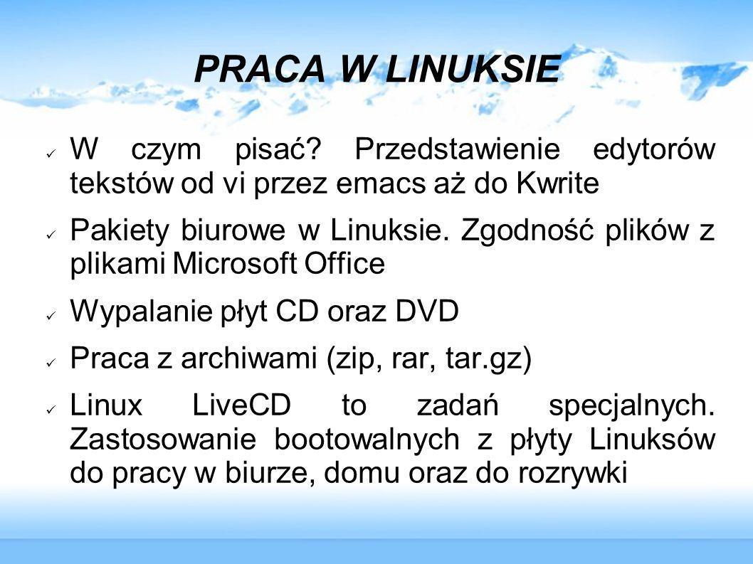 LINUX LIVECD DO ZADAŃ SPECJALNYCH My namie is CD... Live CD ;-)