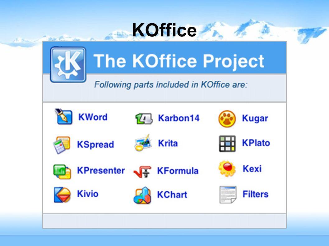 KOffice – zestaw aplikacji biurowych dla środowiska KDE.