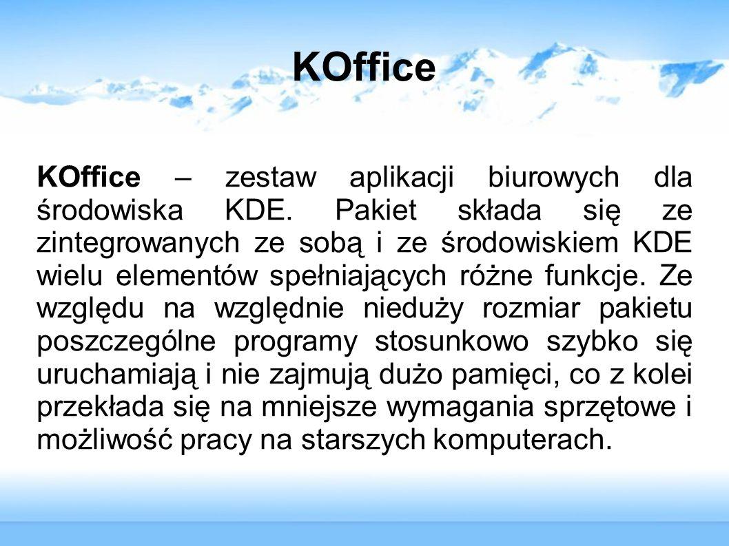 KOffice – zestaw aplikacji biurowych dla środowiska KDE. Pakiet składa się ze zintegrowanych ze sobą i ze środowiskiem KDE wielu elementów spełniający