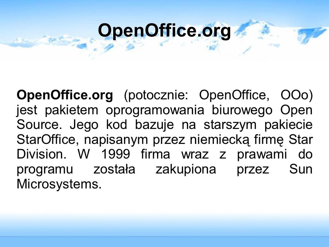OpenOffice.org Najważniejszą nowością wersji 2.0 pakietu jest własny system obsługi relacyjnych baz danych (OpenOffice.org Base), unowocześniony został interfejs wywodzący się jeszcze z pakietu StarOffice.