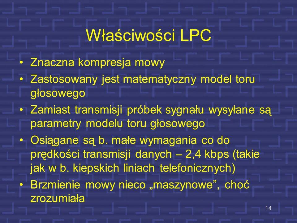 Kompresja mowy – liniowe kodowanie predykcyjne (LPC – linear prediction coding) 13