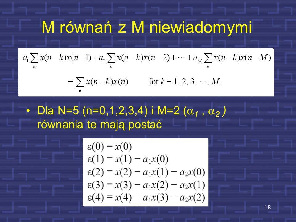 Błąd predykcji 17 Błąd między próbką aktualną i prognozowaną: Suma błędów kwadratowych w analizowanym segmencie sygnału, która może być zminimalizowan