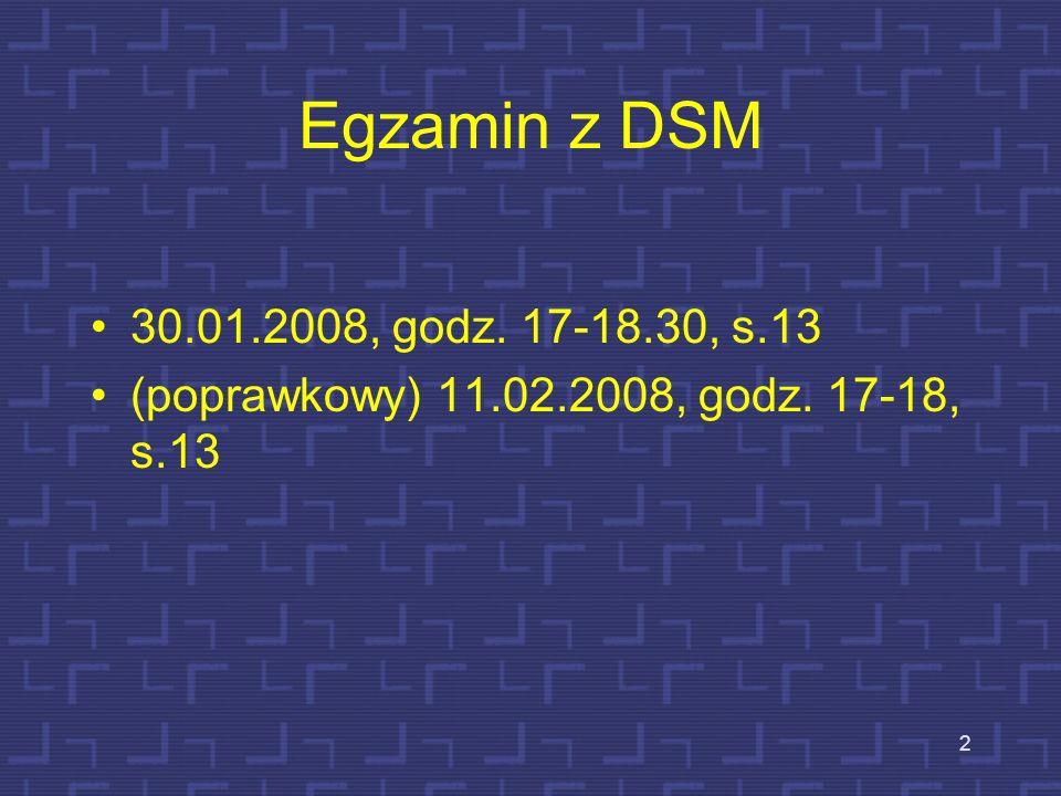 Egzamin z DSM 30.01.2008, godz. 17-18.30, s.13 (poprawkowy) 11.02.2008, godz. 17-18, s.13 2